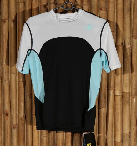 turquoise, black, and white ladies' loose fit rash guard