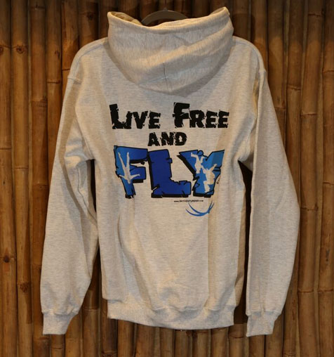 Mens Live Free and Fly hoodie in grey