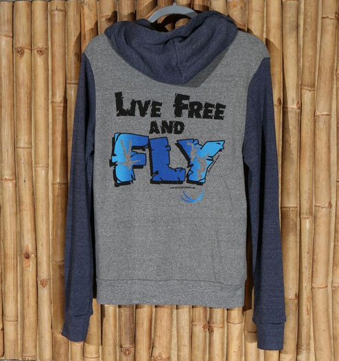 Men's two-tone blue and grey Live Free and Fly zippered hoodie